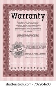Red Warranty template. Printer friendly. Good design. Detailed.