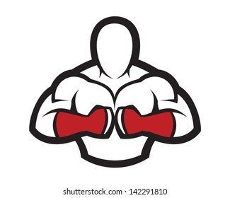 Red warrior fighter strength  gym fitness hot club logo