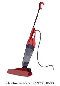 Red washing vacuum cleaner with long handle - isolated on white background - flat style - vector