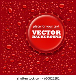 red water drops background with bottle cap