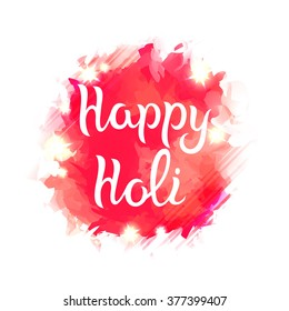Red Watercolor Glitter Splash with Hand Drawn Text Isolated on White. Vector Happy Holi Background.