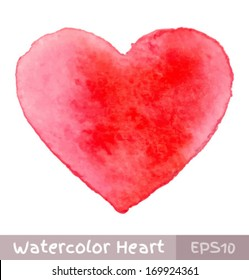 Red Watercolor Heart, vector illustration