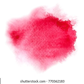 Red watercolor stain with aquarelle paint blotch, wet edges, color blots for Valentine day, wedding, cave date card. Vector