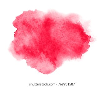 Red watercolor stain with wash. Watercolor texture for Valentine day, wedding, save date card. Vector