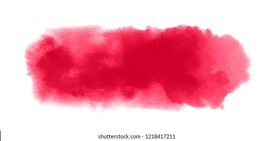 Red watercolor texture with watercolour blotch and paint splashes for Valentine background, banner. Vector