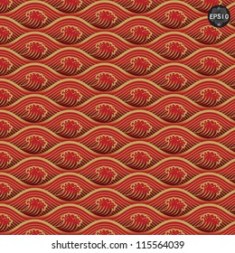 Red waves pattern, Thai traditional art. Vector