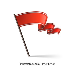 Red waving flag icon. Vector illustration