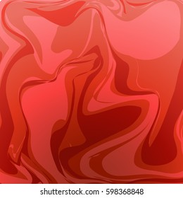 Red wavy abstact vector background. Red silk, satin flowing background. Satin smooth background. Red satin material illustration