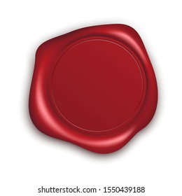 Red Wax Seal with Copy Space. Empty Blank of Mail Stamp. Vector illustration isolated on white background