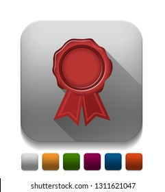red wax seal ribbon With long shadow over app button