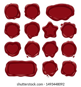 Red wax stamps. Embossed waxstamps for medieval scroll or envelope seal vector labels