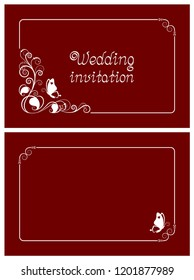 Red wedding invitation, rsvp invite, thank you and save the date cards with floral design and butterfly. Horizontal card template for foil print