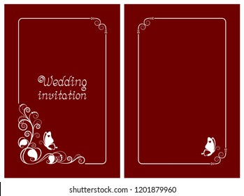 Red wedding invitation, rsvp invite, thank you and save the date cards with floral design and butterfly. Vertical card template for foil print