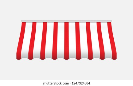 Red and white awning. Realistic canopy for store. Vector illustration.