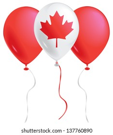 Red and white balloons with the Canadian maple leaf.