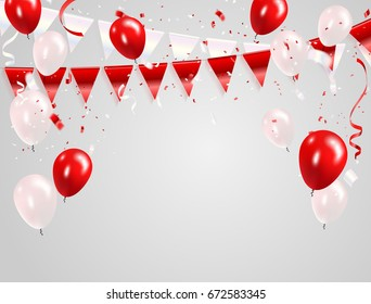 Red White balloons, confetti concept design 17 August Happy Independence Day greeting background. Celebration Vector illustration.