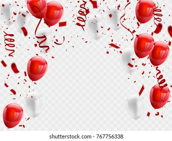 Red White balloons, confetti concept design background. Celebration Vector illustration.