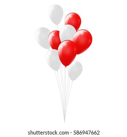 Red and white balloons on white background. glossy balloons