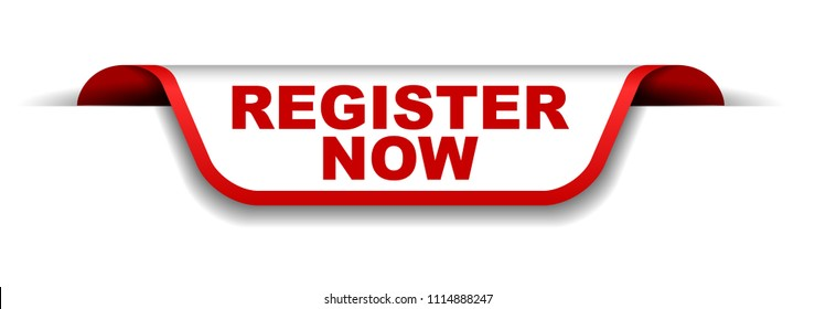 red and white banner register now