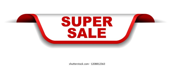 red and white banner super sale
