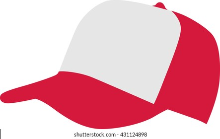 Red white baseball cap