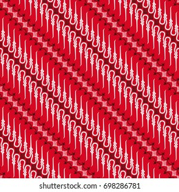 red and white batik pattern of Indonesia seamless diagonal pattern