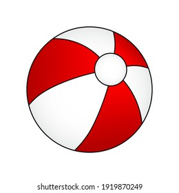 Red and white beach ball, with black outline, vector illustration.