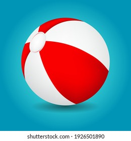 Red and white beach ball isolated on blue background, vector illustration.