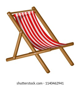 Red and White Beach Chair, Striped Chaise Lounge Isolated on a White Background. Cartoon Vector Illustration