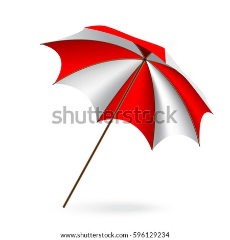 c5d31d13d7 Red White Beach Umbrella Isolated On Stock Vector (Royalty Free ...