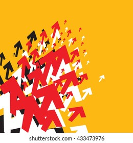 Red, White & Black Arrows on Yellow Abstract Background. Vector illustration.