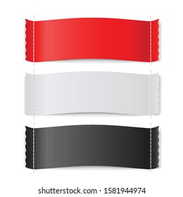 Red, White and Black Clothing Label on White Background. Clothing Fabric Tag Stitch, Realistic Bright Blank Badges with Copy Space for Text. Textile Clothing Label Collection