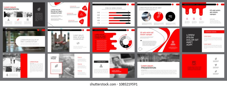 Red, white and black infographic elements for presentation slide templates. Business and analytics concept can be used for financial report, advertising, workflow layout and brochure design.