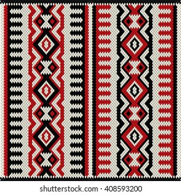 A Red White And Black Vintage Traditional Weaving Motif Rug