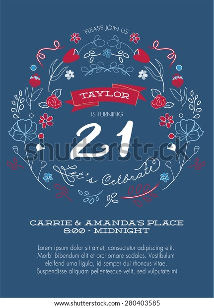 Red, White and Blue 21st Birthday Party Invitation Template - Vector