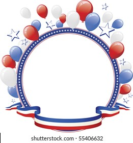 Red White Blue Balloon and Star Border