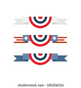 Red white and blue banting isolated over white background, set