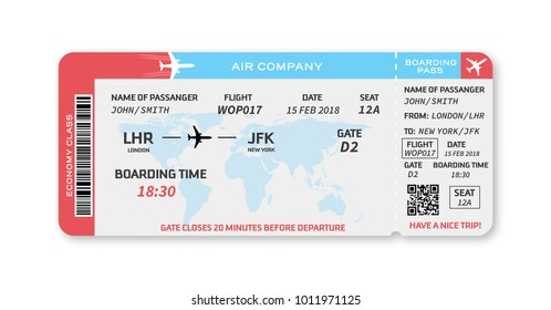 Red white and blue boarding pass, Vector illustration