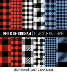 Red, White and Blue Buffalo Check and Gingham Plaid Vector Patterns. Hipster Lumberjack Flannel Shirt Fabric Textures. Patriotic Colors Backgrounds. Repeating Pattern Tile Swatches Included.