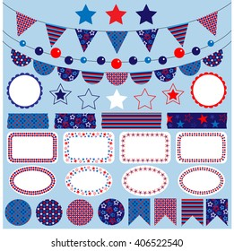 red white blue bunting clipart