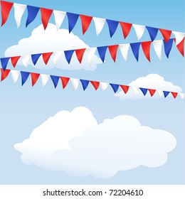 Red white and blue bunting. English or USA colours, suitable for 4th of July, Queen's Jubilee or Royal Birth background. Space for text. EPS10 vector format.