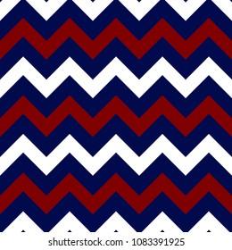 Red, White, and Blue Chevron Seamless Pattern - Bold and graphic red, white, and navy blue chevron zigzag seamless pattern