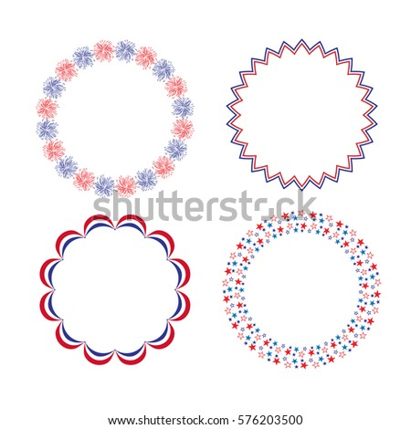 Red White Blue Circle Frames Stockvector Rechtenvrij 576203500