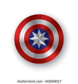 Red, white and blue colored shield with a star symbolizing independence of America. Comics shield
