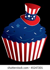 Red white and blue cupcake - vector version