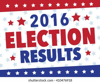Red, white and blue election results political poster