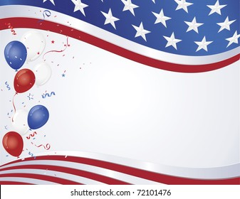 Red white and blue flag wave with party balloons