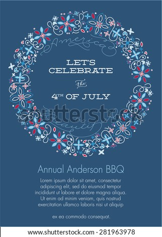 red white blue fourth july party stock vector royalty free