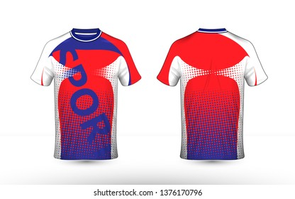 Red, white and blue layout e-sport t-shirt design template