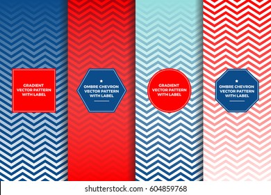 Red White Blue Ombre Chevron Vector Patterns with Label Frames. Patriotic July 4th Backgrounds. Copy Space for Text. Templates for Packaging, Cover or Gift Wrap. Horizontally Repeating Pattern Tiles.
